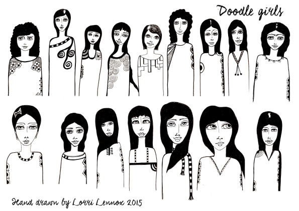 DOODLE GIRLS SHEET ONE72